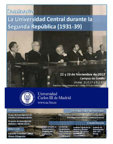 La Universidad Central durante la Segunda República: Las Ciencias Humanas y Sociales y la vida universitaria - University Carlos III de Madrid: Getafe Campus